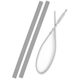 Set van 2 herbruikbare rietjes met borstel - Grey