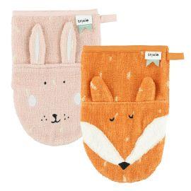 Set van 2 washandjes - Mrs. Rabbit & Mr. Fox