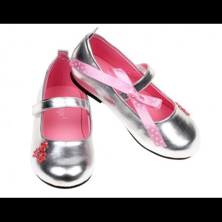 zilver metallic ballerina muiltjes 'Sophy'